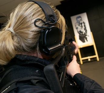 Female Firearms Officer at training sessions