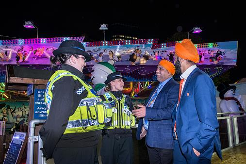 Officers speaking with members of the public as part of Operation Mistletoe