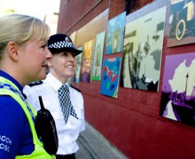 Pcso Rhiannon Cummings and Sergeant Julie Madoc-Smart admiring the art work when the community murals were unveiled back in October, 2015.
