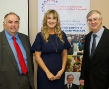 Photo, left to right: Chris Jones, Chair Cwm Taf Health Board, Sophie Howe, Deputy Police and Crime Commissioner, and Mark Drakeford, Minister for Health & Social Services