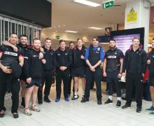 PCSOs Adam Like and Rhiannon Cummings with Ospreys and Edinburgh Rugby players