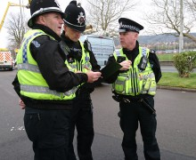 PCs Martyn Langan and Mark Davies with Sergeant Tim Barrell at the Neath rogue trader check point