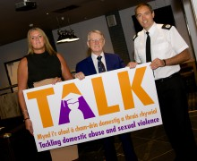 Julie Grady from Atal y Fro, Police and Crime Commissioner Alun Michael and ACC Jon Drake