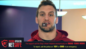Sam Warburton and team members lend their support to Op Net Safe