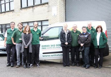 Left to right: Peter McLaren-Kennedy and Craig McLaren-Kennedy (both Directors of Wiltshire Farm Foods, Laura Stevens and Tom Everson (Wiltshire Farm Foods), Deb Elward (Crime Reduction Tactical Advisor, South Wales Police), Gareth Whatley (Wiltshire Farm Foods), PCSO Mandy Michael, South Wales Police) Glyn Germon, Rosi Caves (Wiltshire Farm Foods).