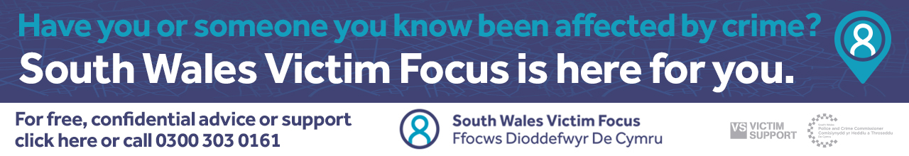 Web banner promoting South Wales Victim Focus